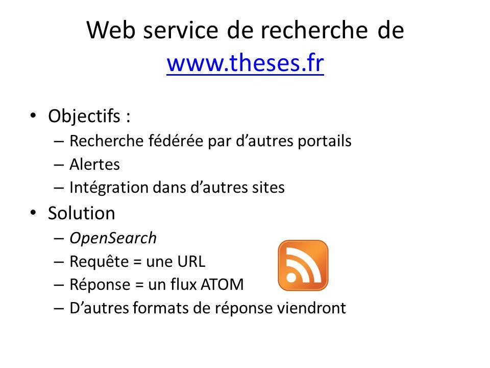 Web service de recherche de www.theses.fr www.theses.fr Objectifs : – Recherche fédérée par dautres portails – Alertes – Intégration dans dautres sites Solution – OpenSearch – Requête = une URL – Réponse = un flux ATOM – Dautres formats de réponse viendront
