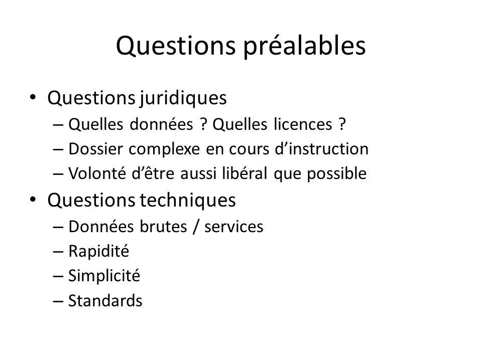 Questions préalables Questions juridiques – Quelles données .