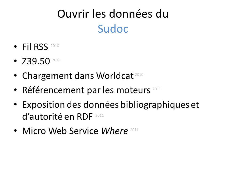 Ouvrir les données du Sudoc Fil RSS 2010 Z39.50 2010 Chargement dans Worldcat 2010- Référencement par les moteurs 2011 Exposition des données bibliographiques et dautorité en RDF 2011 Micro Web Service Where 2011