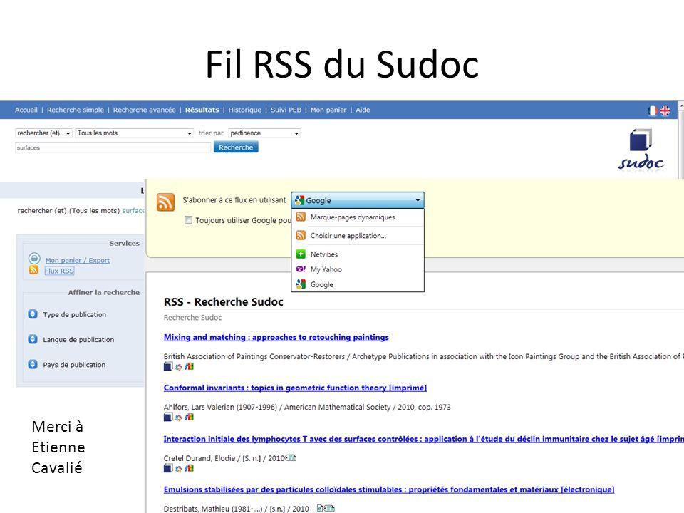 Fil RSS du Sudoc Merci à Etienne Cavalié