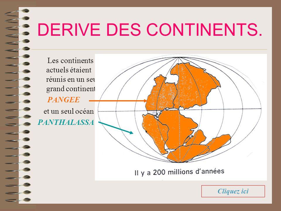DERIVE DES CONTINENTS. Les continents actuels étaient réunis en un seul grand continent: PANGEE et un seul océan : PANTHALASSA. Cliquez ici
