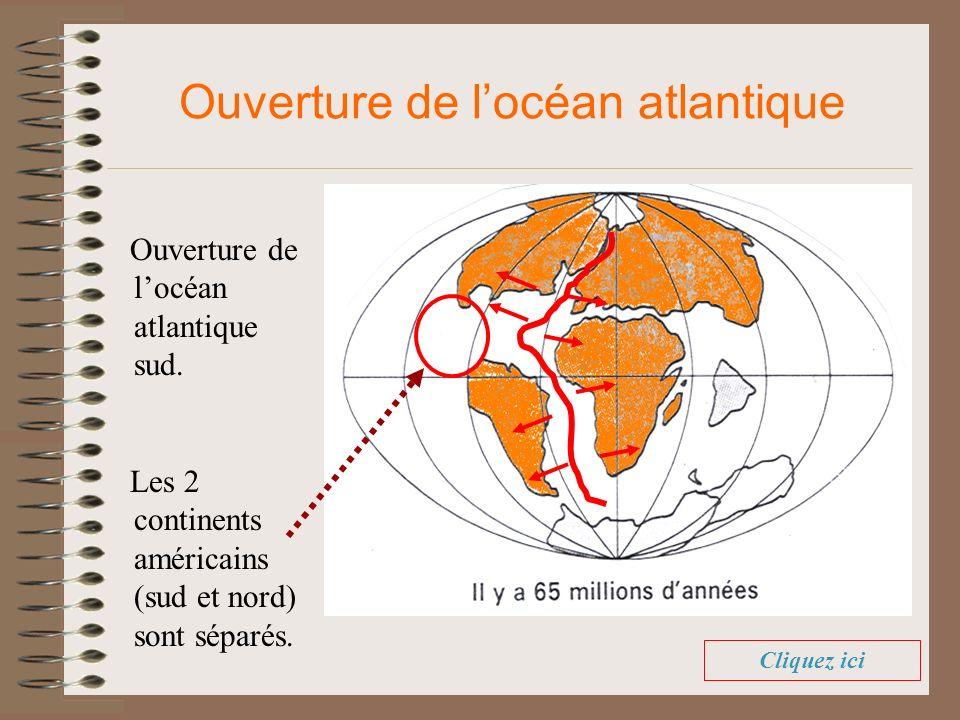 Ouverture de locéan atlantique sud. Ouverture de locéan atlantique Les 2 continents américains (sud et nord) sont séparés. Cliquez ici