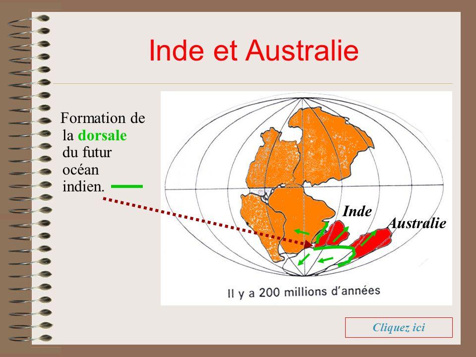 Inde et Australie Formation de la dorsale du futur océan indien. Cliquez ici Inde Australie