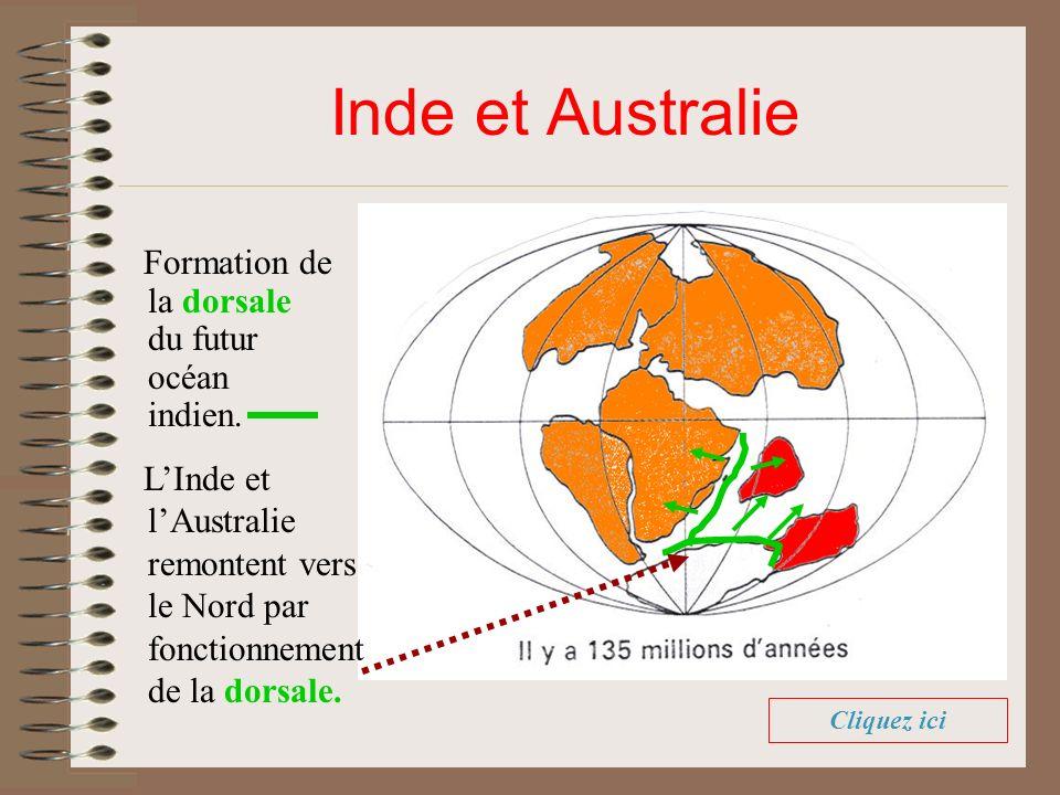 Inde et Australie Formation de la dorsale du futur océan indien. LInde et lAustralie remontent vers le Nord par fonctionnement de la dorsale. Cliquez