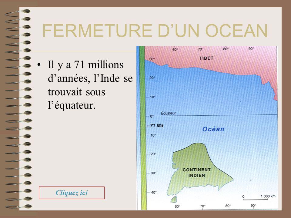 FERMETURE DUN OCEAN Il y a 71 millions dannées, lInde se trouvait sous léquateur. Cliquez ici