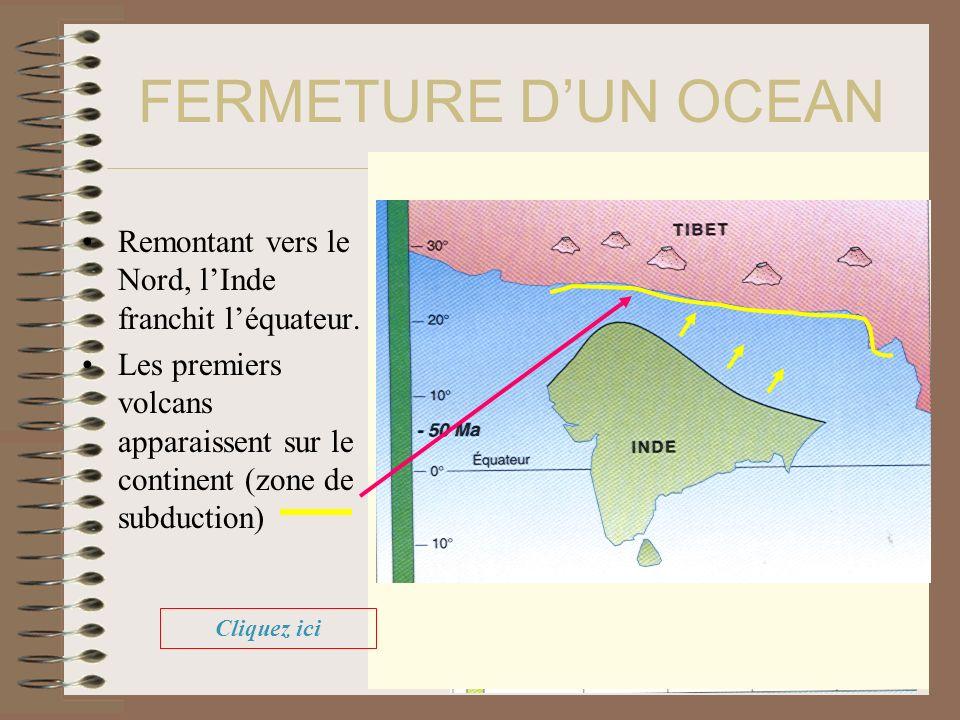 FERMETURE DUN OCEAN Remontant vers le Nord, lInde franchit léquateur. Les premiers volcans apparaissent sur le continent (zone de subduction) Cliquez