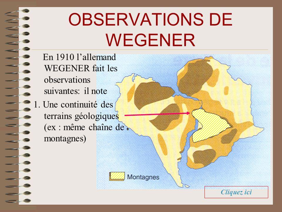OBSERVATIONS DE WEGENER En 1910 lallemand WEGENER fait les observations suivantes: il note 1. Une continuité des terrains géologiques (ex : même chaîn