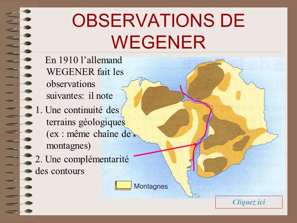 OBSERVATIONS DE WEGENER En 1910 lallemand WEGENER fait les observations suivantes: il note 1.