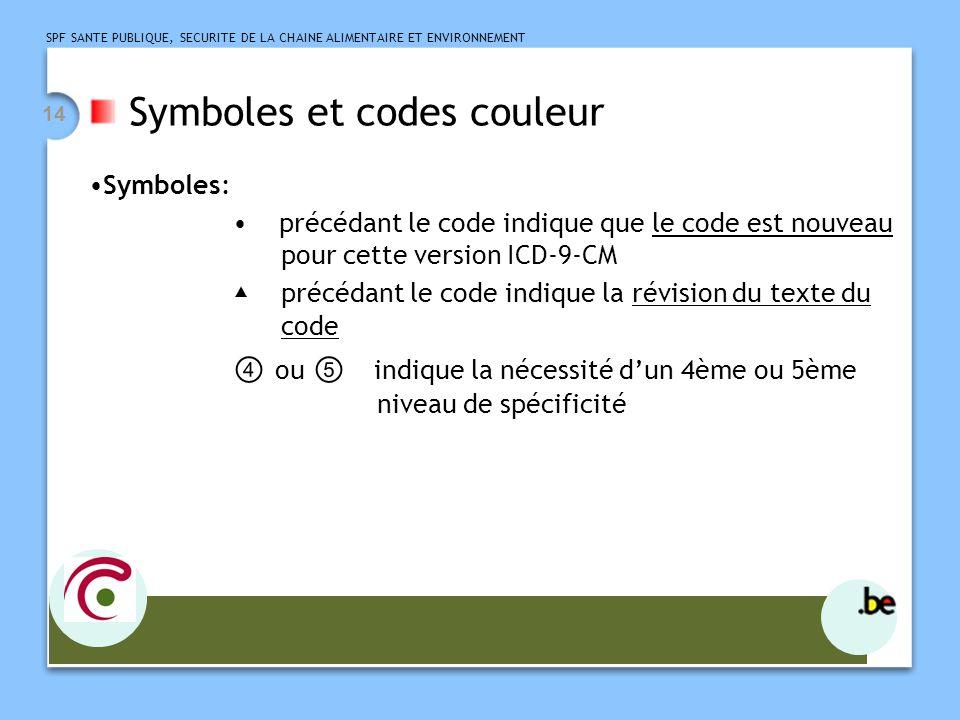 SPF SANTE PUBLIQUE, SECURITE DE LA CHAINE ALIMENTAIRE ET ENVIRONNEMENT 14 Symboles et codes couleur Symboles: précédant le code indique que le code est nouveau pour cette version ICD-9-CM précédant le code indique la révision du texte du code ou indique la nécessité dun 4ème ou 5ème niveau de spécificité