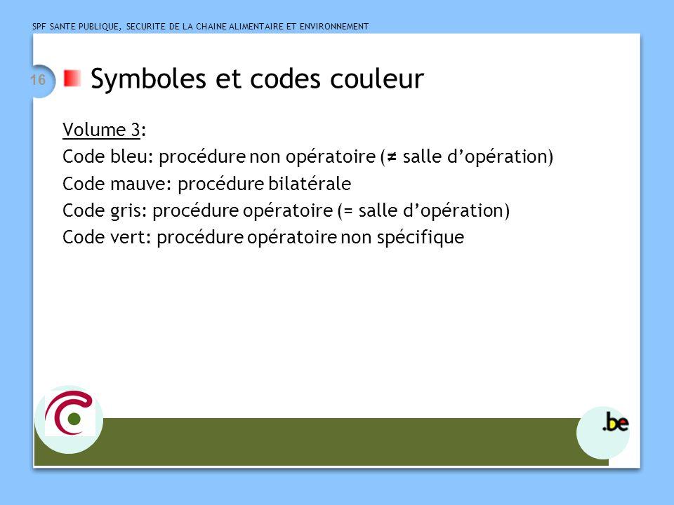 SPF SANTE PUBLIQUE, SECURITE DE LA CHAINE ALIMENTAIRE ET ENVIRONNEMENT 16 Symboles et codes couleur Volume 3: Code bleu: procédure non opératoire ( sa