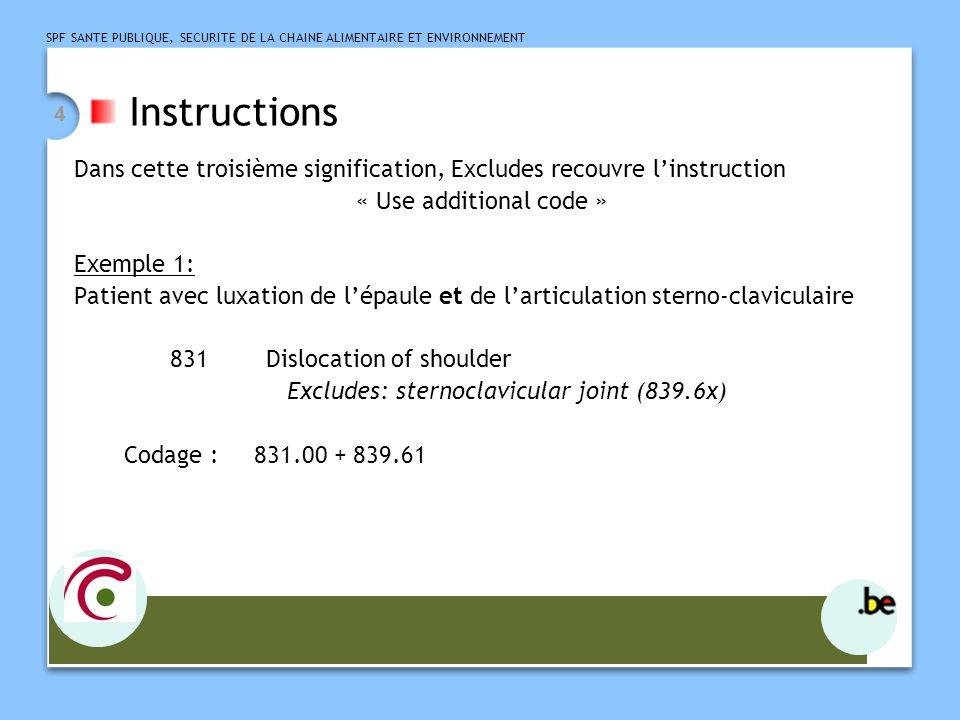 SPF SANTE PUBLIQUE, SECURITE DE LA CHAINE ALIMENTAIRE ET ENVIRONNEMENT 4 Instructions Dans cette troisième signification, Excludes recouvre linstruction « Use additional code » Exemple 1: Patient avec luxation de lépaule et de larticulation sterno-claviculaire 831 Dislocation of shoulder Excludes: sternoclavicular joint (839.6x) Codage : 831.00 + 839.61