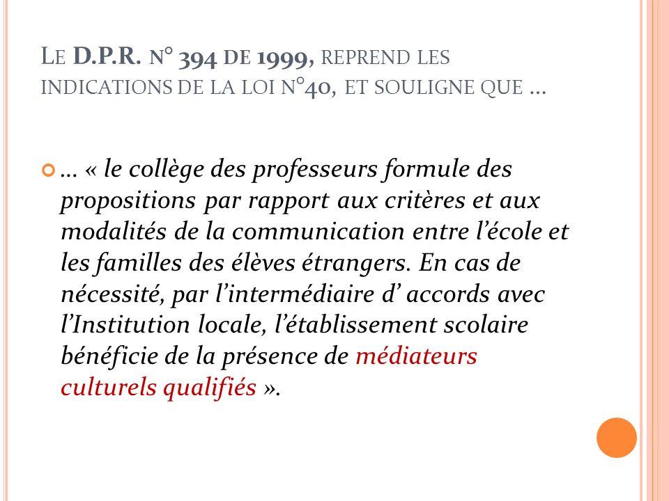 L A LOI N ° 40 DU 6 MARS 1998 … … concerne par contre la « Discipline de limmigration et normes sur la condition de létranger ».