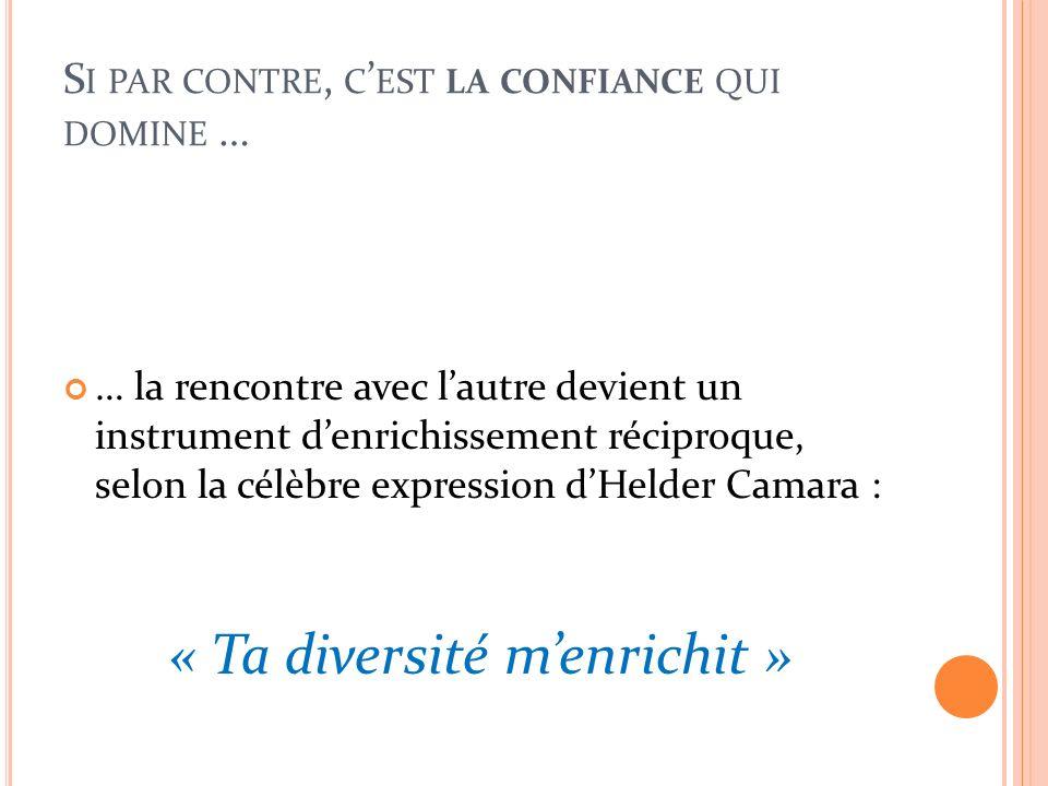 S I PAR CONTRE, C EST LA CONFIANCE QUI DOMINE … … la rencontre avec lautre devient un instrument denrichissement réciproque, selon la célèbre expression dHelder Camara : « Ta diversité menrichit »