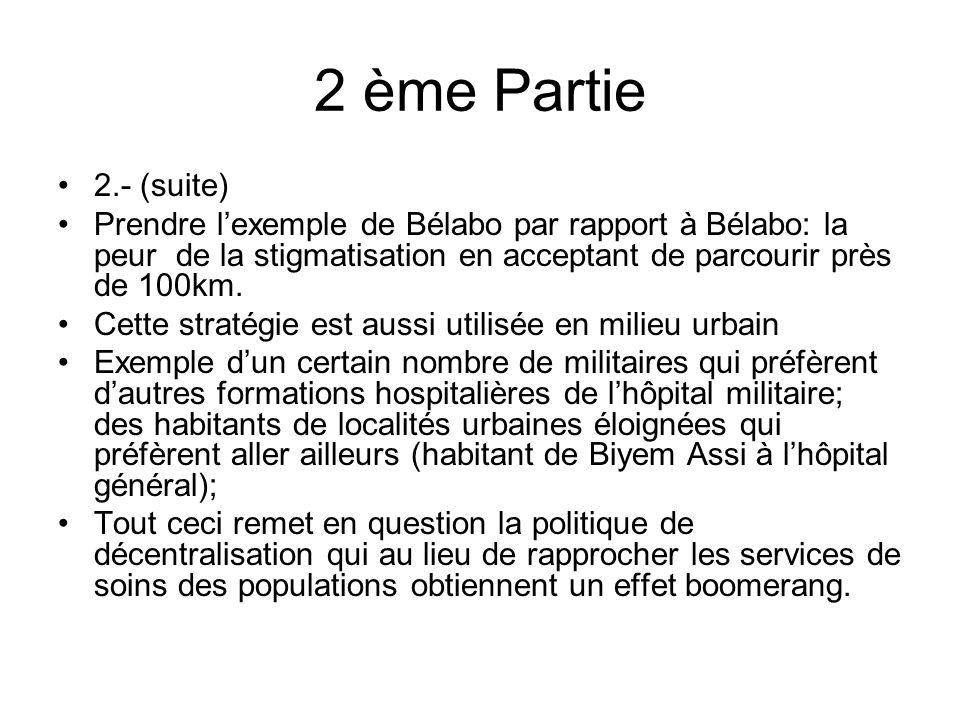 2 ème Partie 2.- (suite) Prendre lexemple de Bélabo par rapport à Bélabo: la peur de la stigmatisation en acceptant de parcourir près de 100km.