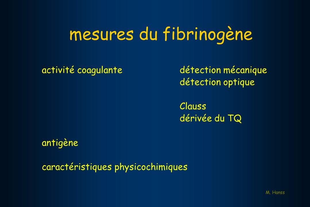 mesures du fibrinogène activité coagulantedétection mécanique détection optique Clauss dérivée du TQ antigène caractéristiques physicochimiques M. Han