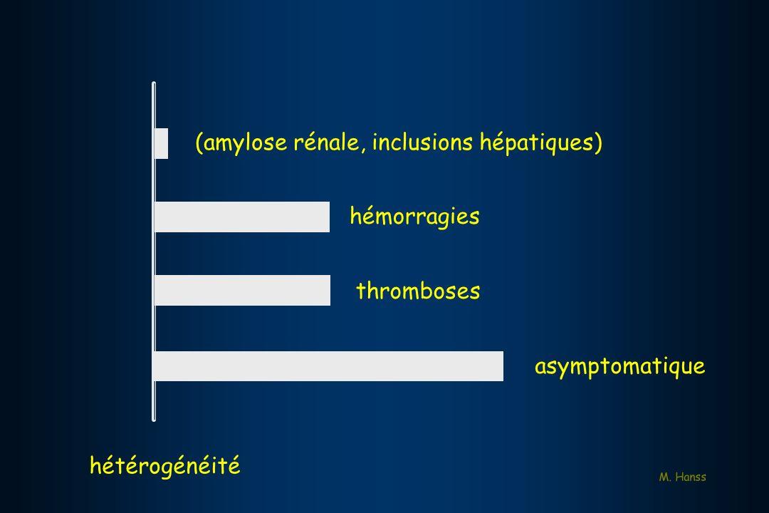 (amylose rénale, inclusions hépatiques) hémorragies thromboses asymptomatique M. Hanss hétérogénéité