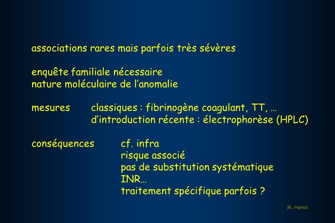 associations rares mais parfois très sévères enquête familiale nécessaire nature moléculaire de lanomalie mesuresclassiques : fibrinogène coagulant, T