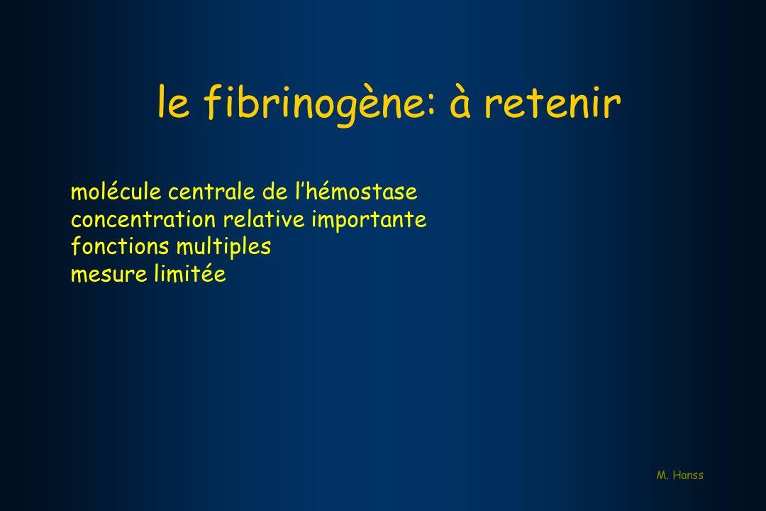 M. Hanss molécule centrale de lhémostase concentration relative importante fonctions multiples mesure limitée le fibrinogène: à retenir