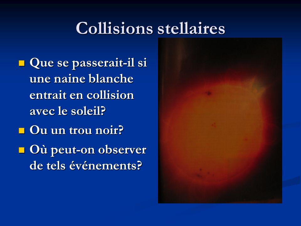 Collisions stellaires Que se passerait-il si une naine blanche entrait en collision avec le soleil.