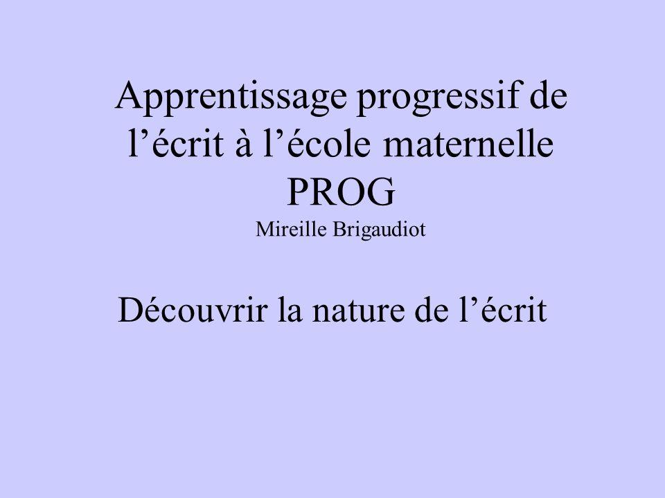 Apprentissage progressif de lécrit à lécole maternelle PROG Mireille Brigaudiot Découvrir la nature de lécrit