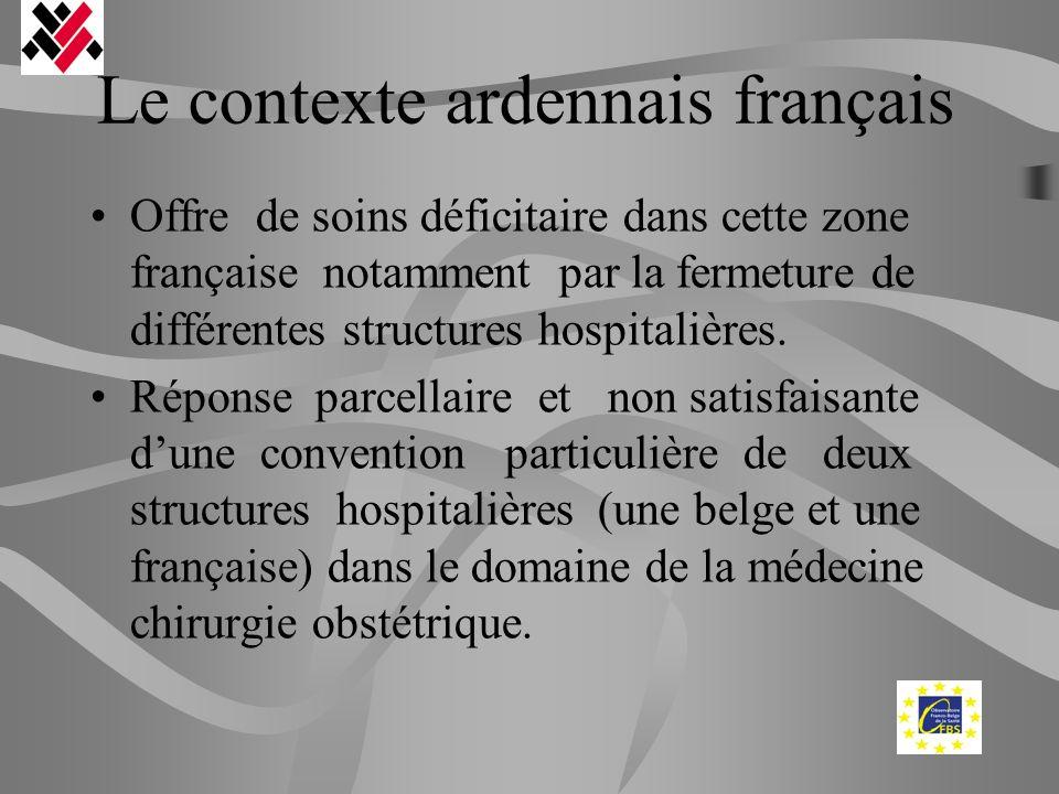 Le contexte ardennais français Offre de soins déficitaire dans cette zone française notamment par la fermeture de différentes structures hospitalières
