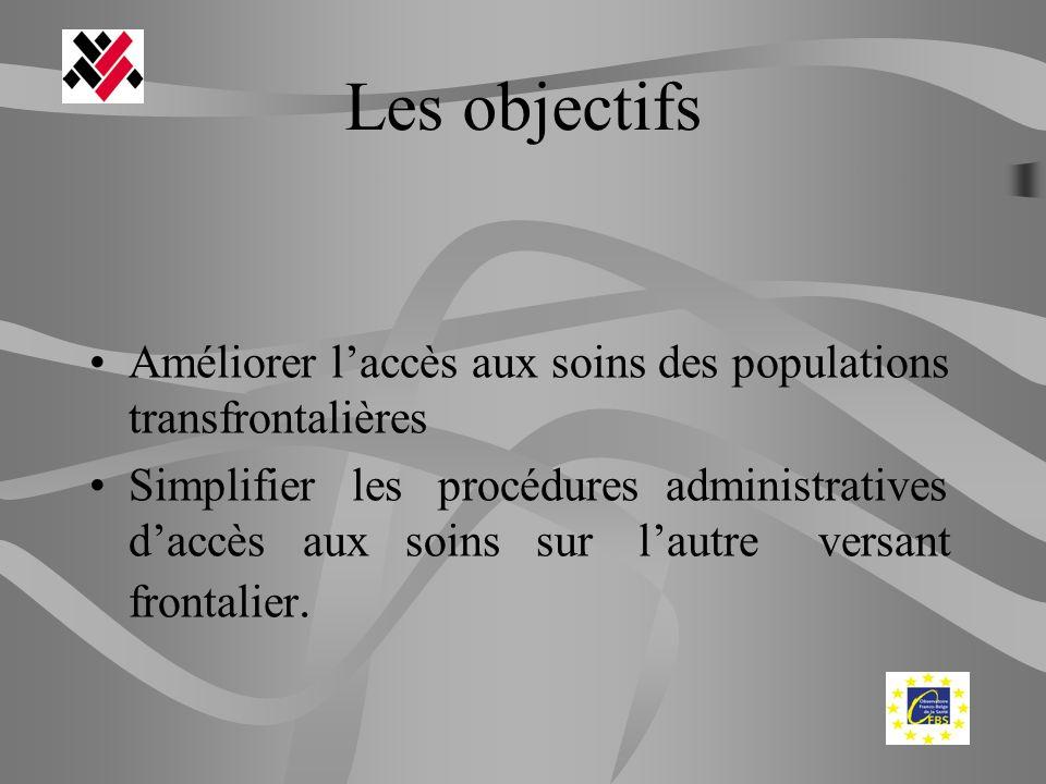 Les objectifs Améliorer laccès aux soins des populations transfrontalières Simplifier les procédures administratives daccès aux soins sur lautre versa