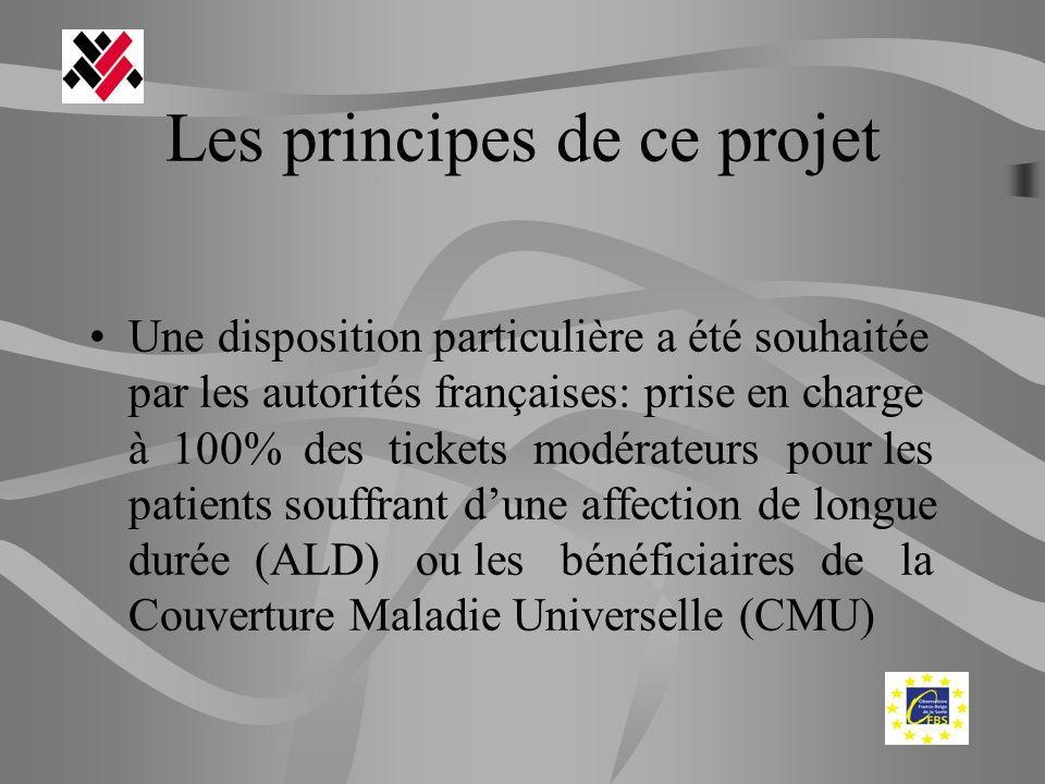 Les principes de ce projet Une disposition particulière a été souhaitée par les autorités françaises: prise en charge à 100% des tickets modérateurs p