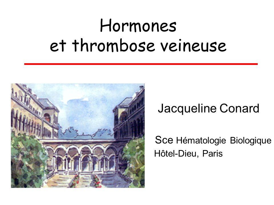 Hormones et thrombose veineuse Jacqueline Conard Sce Hématologie Biologique Hôtel-Dieu, Paris