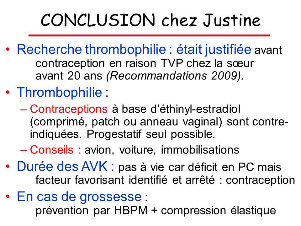 CONCLUSION chez Justine Recherche thrombophilie : était justifiée avant contraception en raison TVP chez la sœur avant 20 ans (Recommandations 2009).