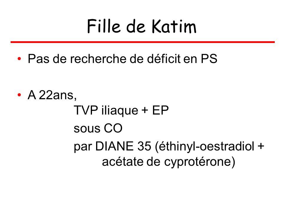 Fille de Katim Pas de recherche de déficit en PS A 22ans, TVP iliaque + EP sous CO par DIANE 35 (éthinyl-oestradiol + acétate de cyprotérone)