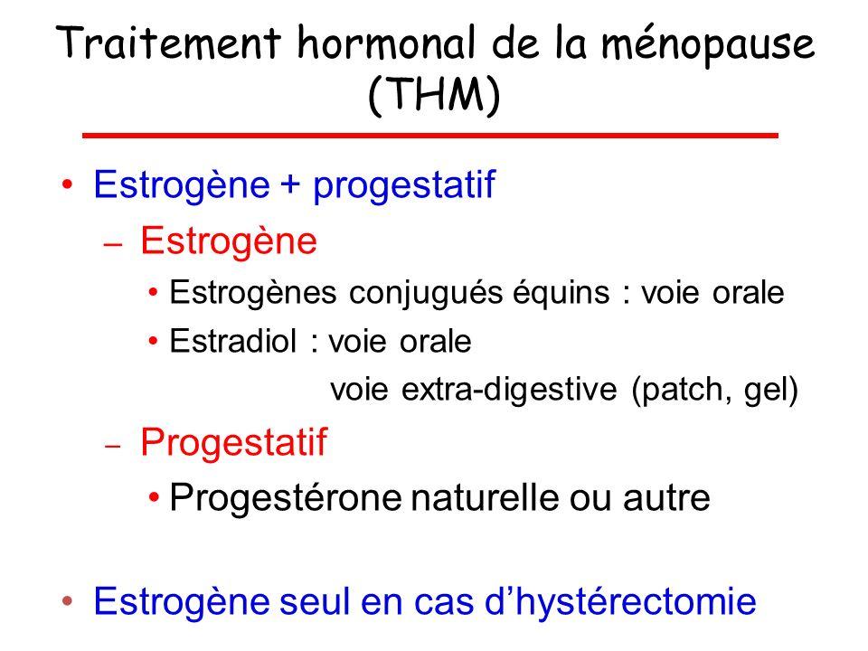 Traitement hormonal de la ménopause (THM) Estrogène + progestatif – Estrogène Estrogènes conjugués équins : voie orale Estradiol : voie orale voie ext