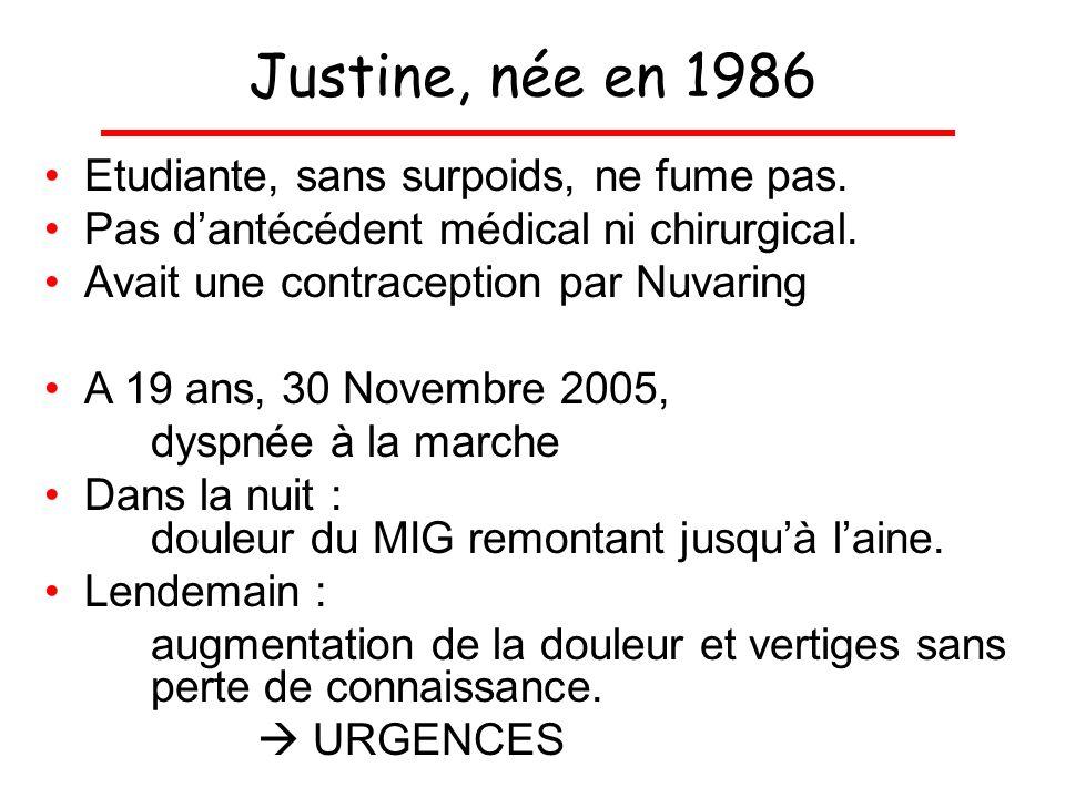 Justine, née en 1986 Etudiante, sans surpoids, ne fume pas. Pas dantécédent médical ni chirurgical. Avait une contraception par Nuvaring A 19 ans, 30