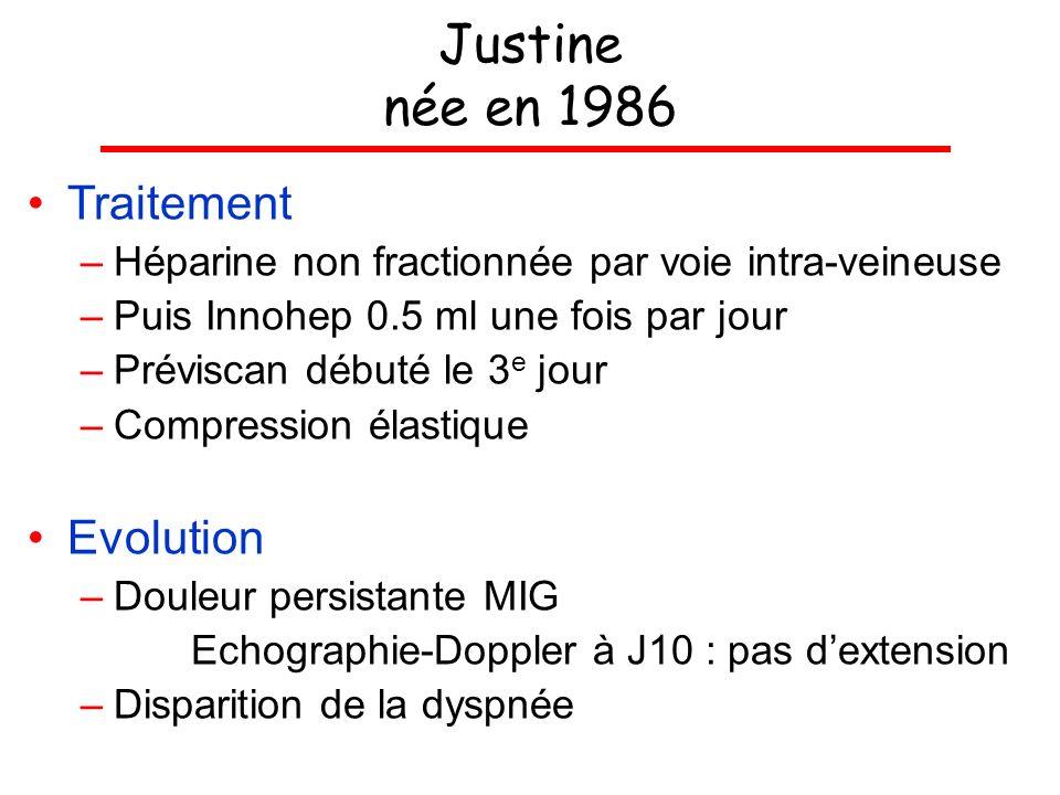 Justine née en 1986 Traitement –Héparine non fractionnée par voie intra-veineuse –Puis Innohep 0.5 ml une fois par jour –Préviscan débuté le 3 e jour