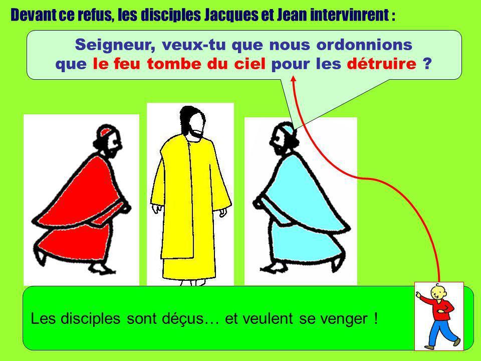 Devant ce refus, les disciples Jacques et Jean intervinrent : Seigneur, veux-tu que nous ordonnions que le feu tombe du ciel pour les détruire ? Les d