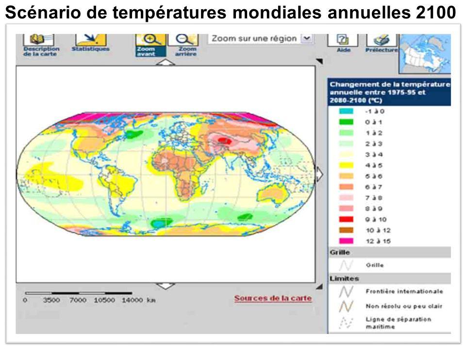 Scénario de températures mondiales annuelles 2050
