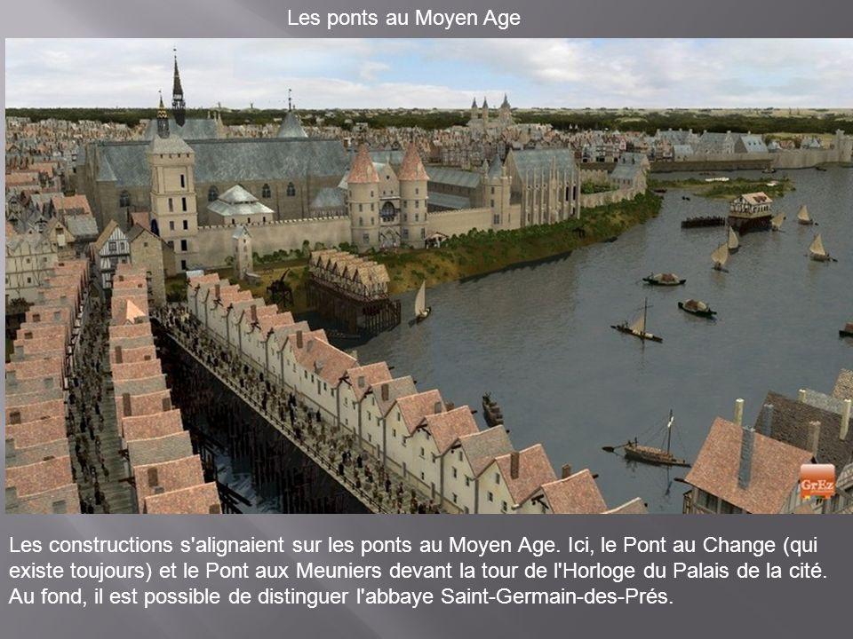 Depuis le Pont Saint-Michel Sur cette image apparaît, au fond, le Louvre. A droite, la pointe de l'Ile de la Cité et les habitations des chanoines du