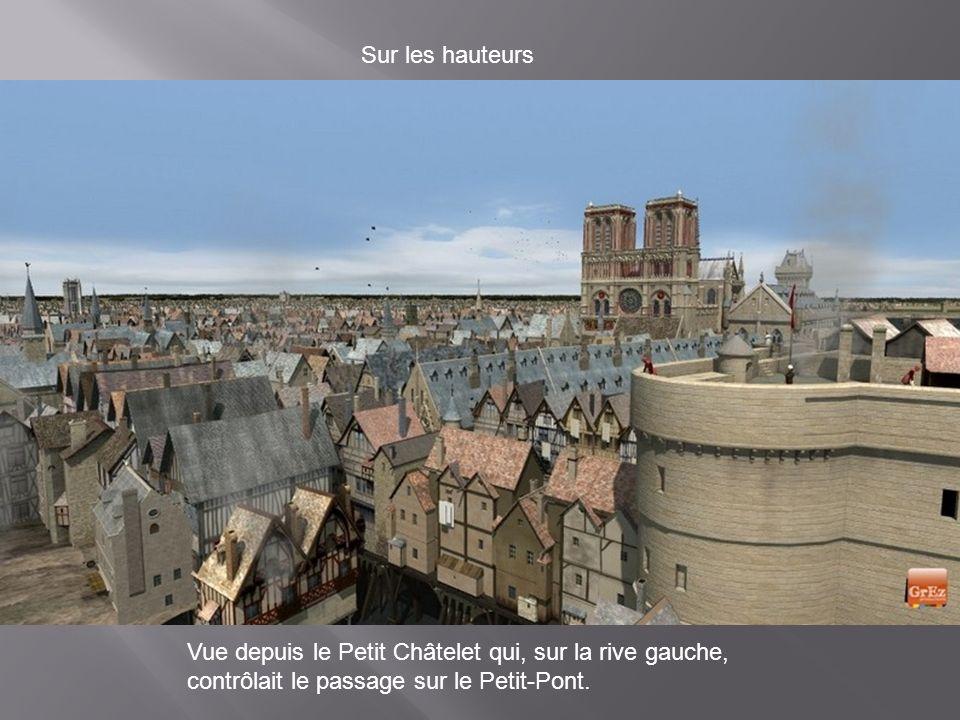 Zoom sur le Petit-Pont Au Moyen Age, avec les constructions qui s'élevaient sur les ponts, les passants franchissaient la Seine sans forcément se rend