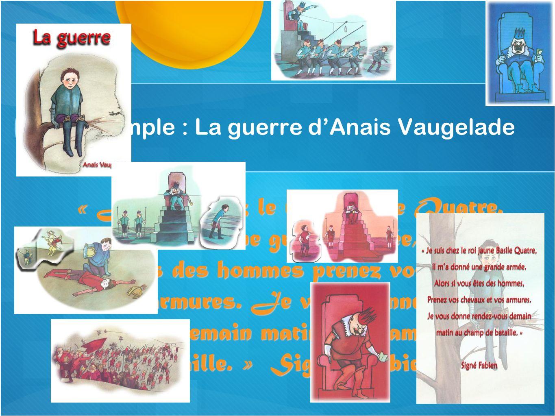Un exemple : La guerre dAnais Vaugelade « Je suis chez le roi Basile Quatre. Il ma donné une grande armée, alors si vous êtes des hommes prenez vos ch