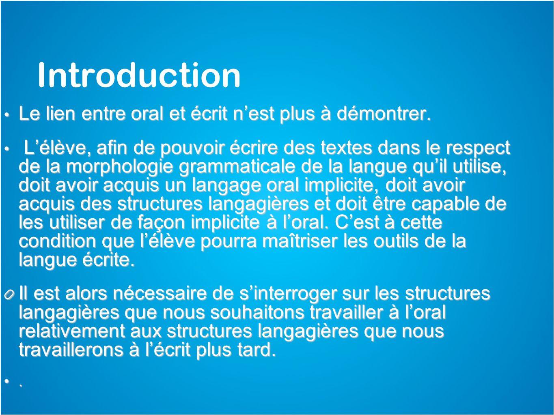 Introduction Le lien entre oral et écrit nest plus à démontrer. Le lien entre oral et écrit nest plus à démontrer. Lélève, afin de pouvoir écrire des