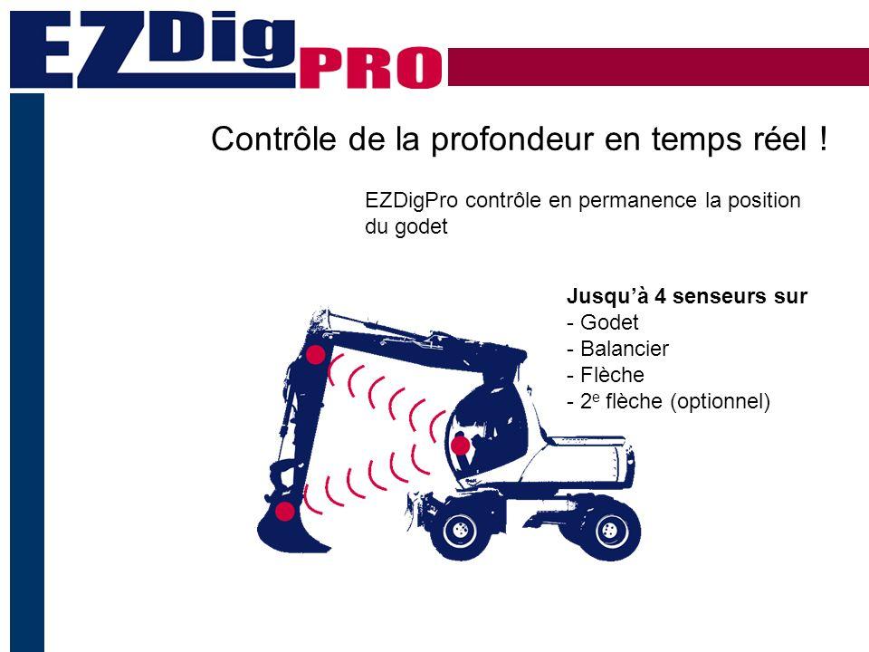 Système de guidage pour excavateur - Installé en moins de 25 minutes - Peut être monté par un opérateur - Changement rapide entre plusieurs machines - Pas de cables sur les pivots - Pas de soudure Installation rapide – manipulation simple