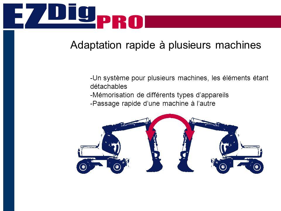 Adaptation rapide à plusieurs machines -Un système pour plusieurs machines, les éléments étant détachables -Mémorisation de différents types dappareils -Passage rapide dune machine à lautre