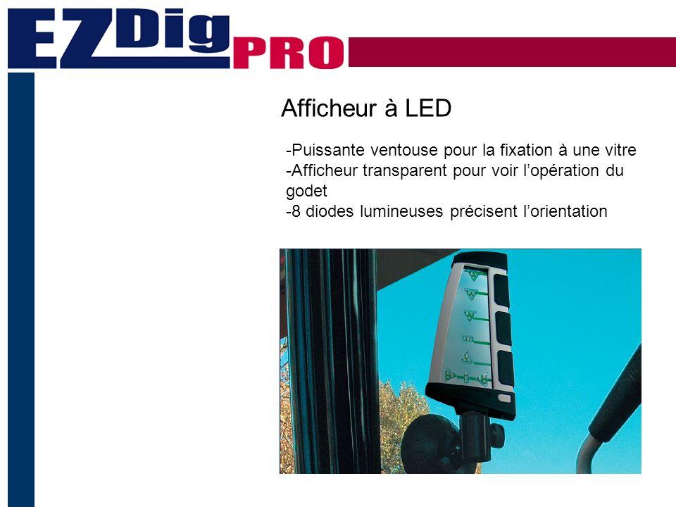 Afficheur à LED -Puissante ventouse pour la fixation à une vitre -Afficheur transparent pour voir lopération du godet -8 diodes lumineuses précisent lorientation
