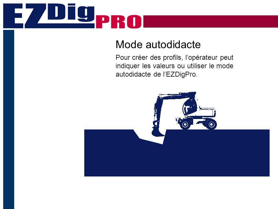 Mode autodidacte Pour créer des profils, lopérateur peut indiquer les valeurs ou utiliser le mode autodidacte de lEZDigPro.