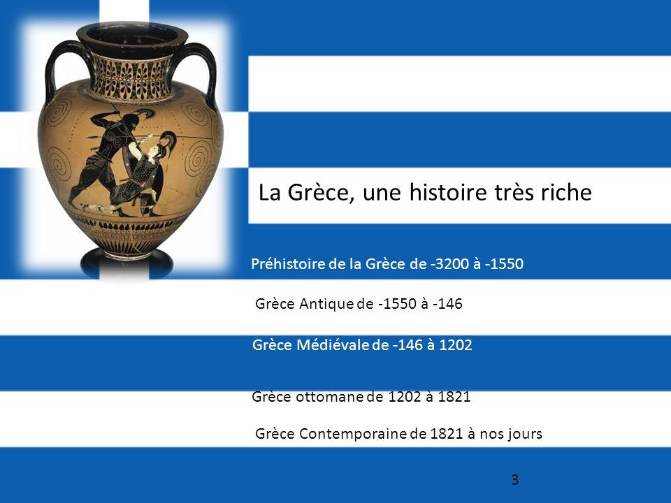 3 La Grèce, une histoire très riche Préhistoire de la Grèce de -3200 à -1550 Grèce Antique de -1550 à -146 Grèce Médiévale de -146 à 1202 Grèce ottomane de 1202 à 1821 Grèce Contemporaine de 1821 à nos jours