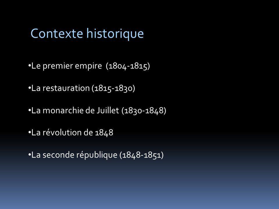 Contexte historique Le premier empire (1804-1815) La restauration (1815-1830) La monarchie de Juillet (1830-1848) La révolution de 1848 La seconde rép