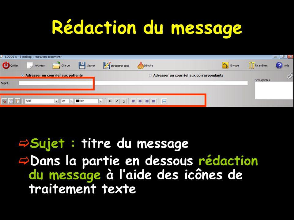 Rédaction du message Sujet : titre du message Dans la partie en dessous rédaction du message à laide des icônes de traitement texte