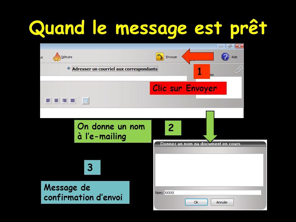 Quand le message est prêt Clic sur Envoyer 1 2 3 On donne un nom à le-mailing Message de confirmation denvoi
