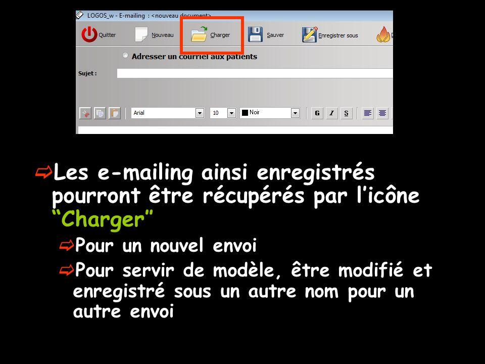 Les e-mailing ainsi enregistrés pourront être récupérés par licône Charger Pour un nouvel envoi Pour servir de modèle, être modifié et enregistré sous