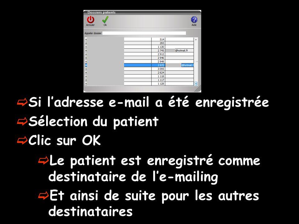 Si ladresse e-mail a été enregistrée Sélection du patient Clic sur OK Le patient est enregistré comme destinataire de le-mailing Et ainsi de suite pou