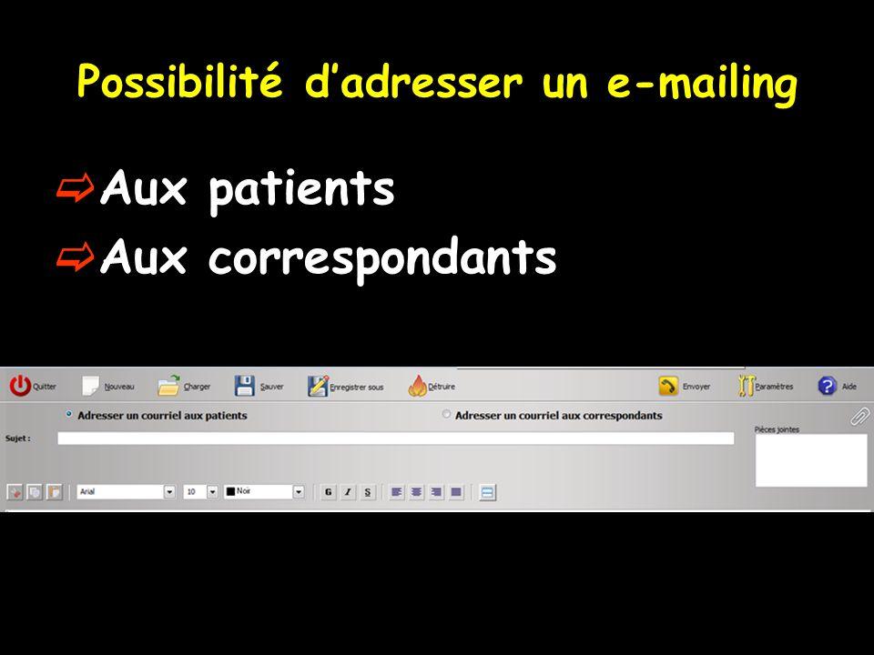 Possibilité dadresser un e-mailing Aux patients Aux correspondants